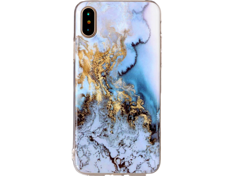 Image of   Marmor TPU cover til iPhone X-Blå