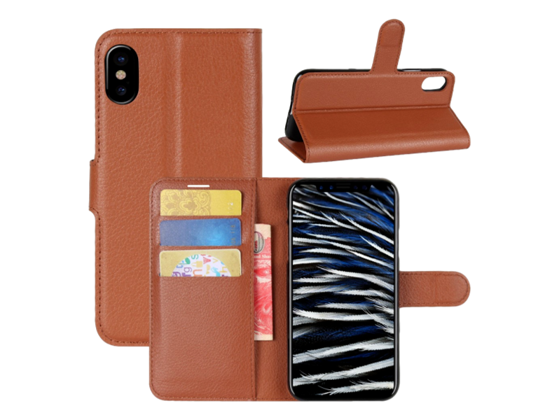Image of   Graviera Flip Cover til iPhone X og iPhone XS-Brun