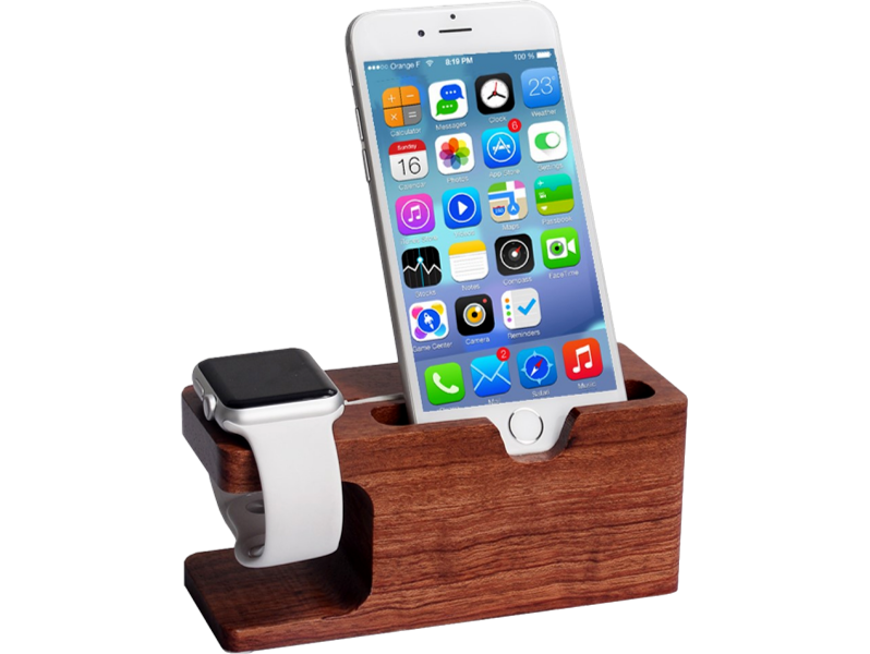 Image of   Holder til Apple Watch og iPhone i træ