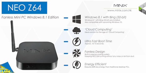 Image of   Minix NEO Z64 Windows 8.1 Mini PC