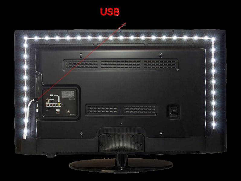 Hvidt Led-Lys Til Tv & Pc-3 Meter