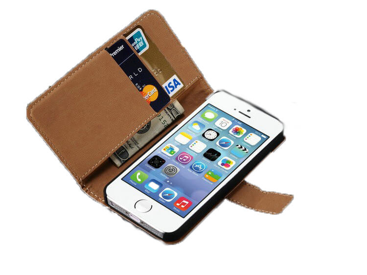 iPhone 5 / 5S læder cover med pung-Sort