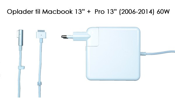 "Image of   60W oplader til Macbook 13"" + Pro 13"" (2006-2015)"