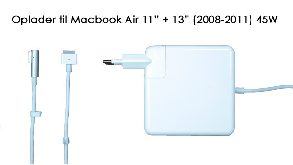 "Image of   45W oplader til Macbook Air 11"" + 13"" (2008-2011)"