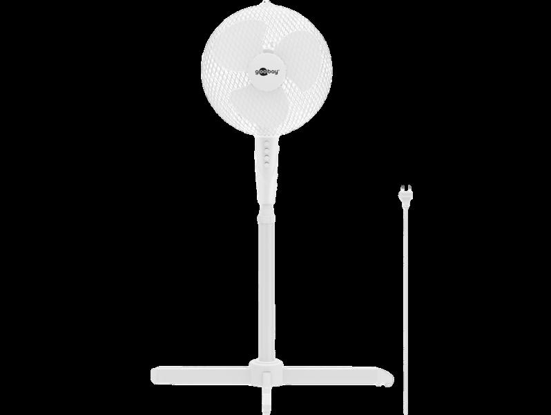 Image of   40cm Hvid Gulvventilator m. Rotation