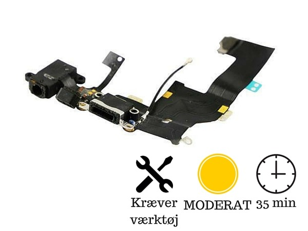 Image of   Hovedtelefon indgang + oplader indgang / dock connector til iPhone 5-Sort