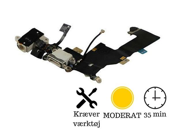 Image of   Hovedtelefon indgang + oplader indgang / dock connector til iPhone 5-Hvid