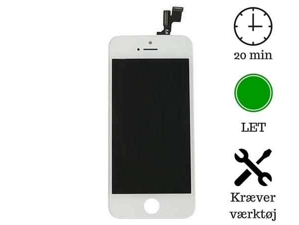 Skærm til iPhone 5s-Hvid