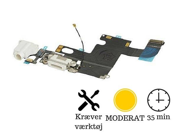 Image of   Hovedtelefon indgang + oplader indgang / dock connector til iPhone 6-Hvid