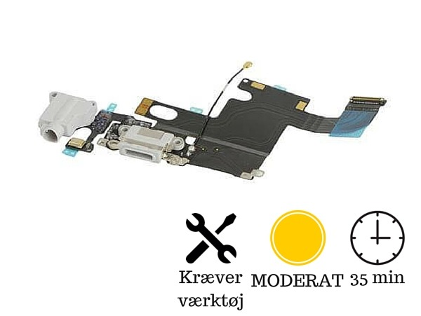 Image of   Hovedtelefon indgang + oplader indgang / dock connector til iPhone 6-Grå