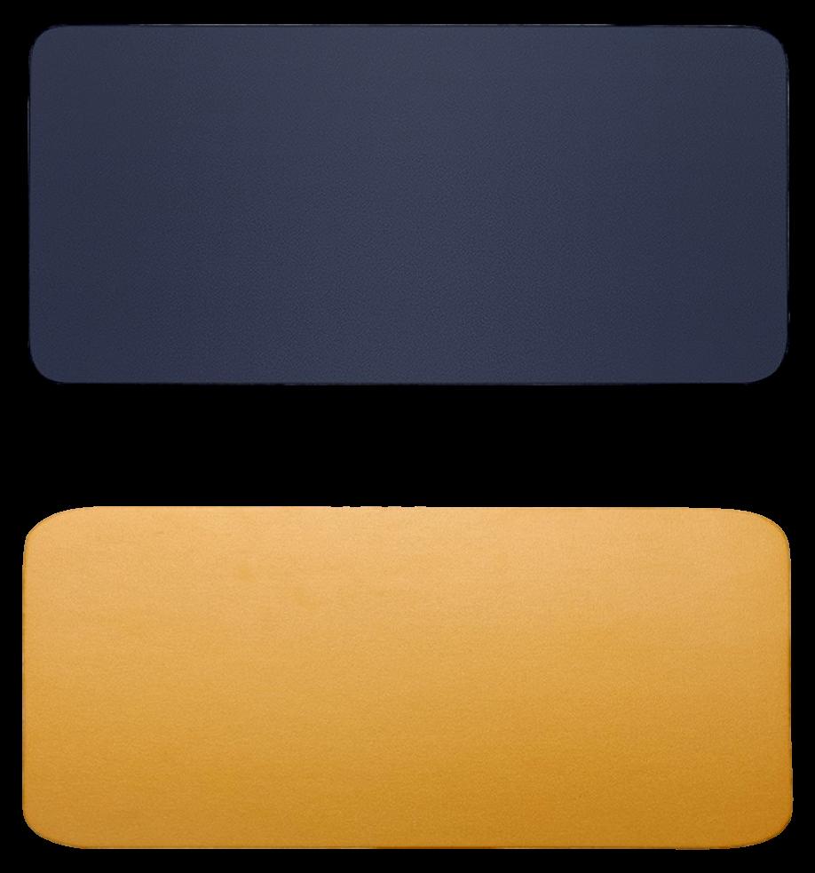 Billede af 60 x 30cm Dobbeltsidet PU Læder Musemåtte - Gul & Blå