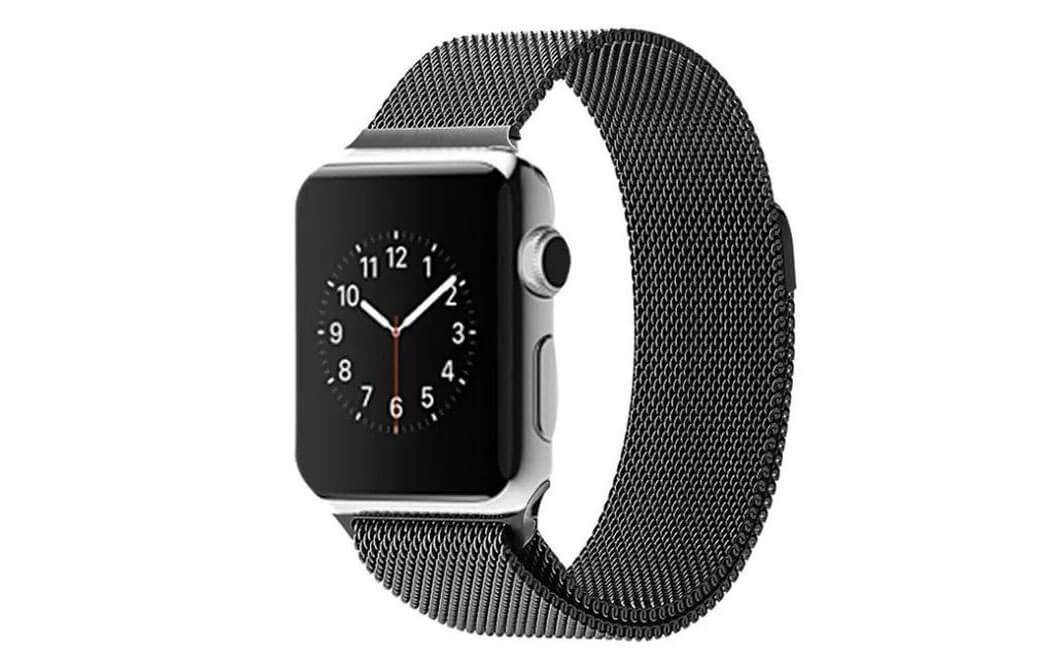Image of   Sort Apple Watch Mesh urlænke i rustfrit stål - 38mm