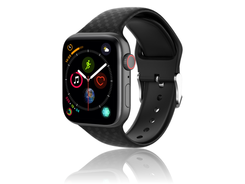 Image of   Diamond Silicone rem til Apple Watch Series 1 / 2 / 3 / 4 / 5 - 38 / 40mm-Sort