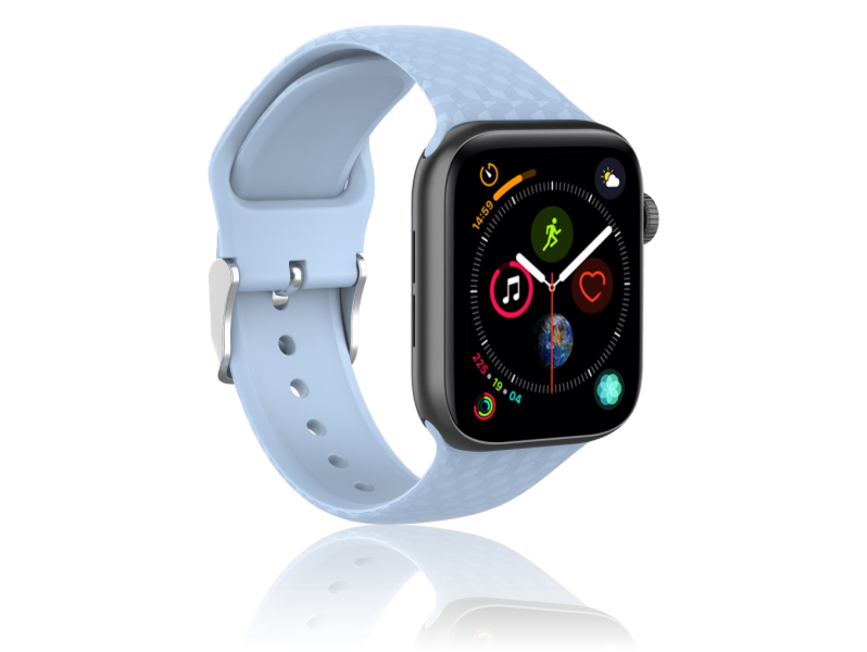 Image of   Diamond Silicone rem til Apple Watch Series 1 / 2 / 3 / 4 / 5 - 38 / 40mm-Lyseblå