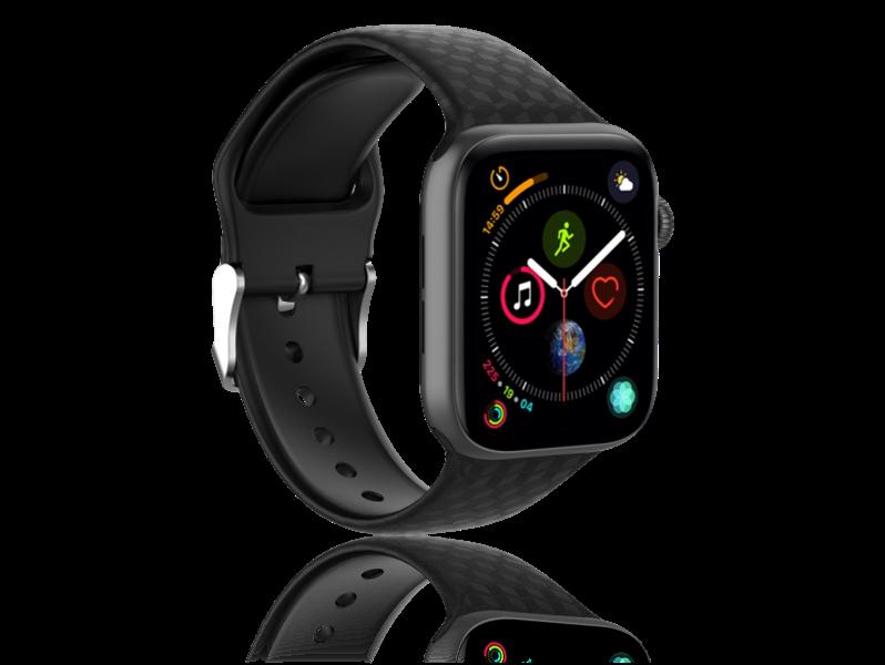 Image of   Diamond Silicone rem til Apple Watch Series 1 / 2 / 3 / 4 / 5 - 42 / 44mm-Sort