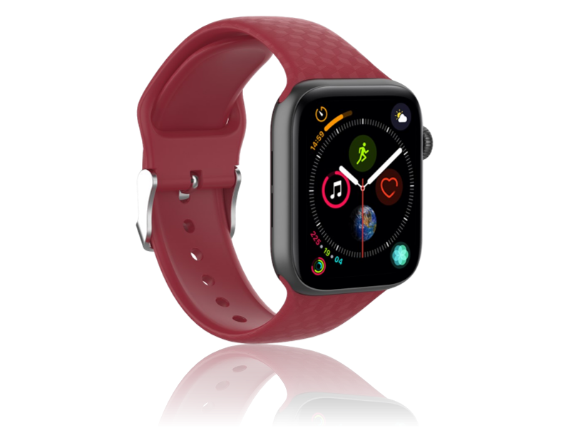 Image of   Diamond Silicone rem til Apple Watch Series 1 / 2 / 3 / 4 / 5 - 42 / 44mm-Rød