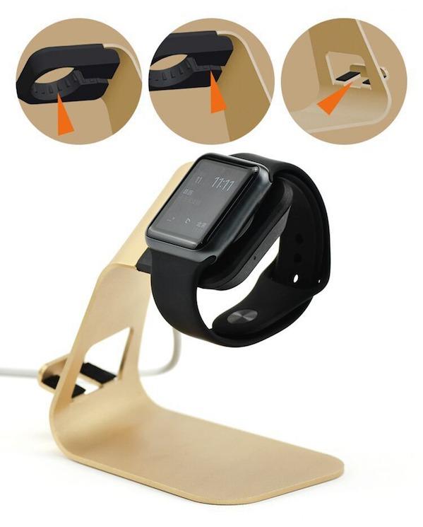 Billede af Bellus Apple Watch Stand m. iPhone holder i guld