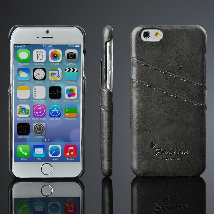 Læder Cover til iPhone 6 / 6S -Sort