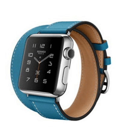 Image of   Dobbelt læderrem til Apple watch 42mm - Blå