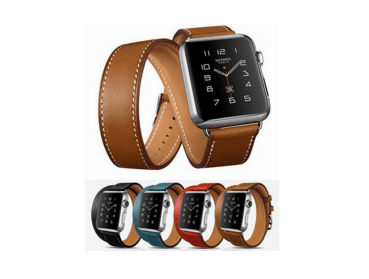 Image of   Dobbelt læderrem til Apple watch 42 mm.