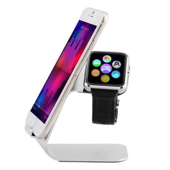 Image of   Bellus Stand m. iPhone holder i sølv til Apple Watch