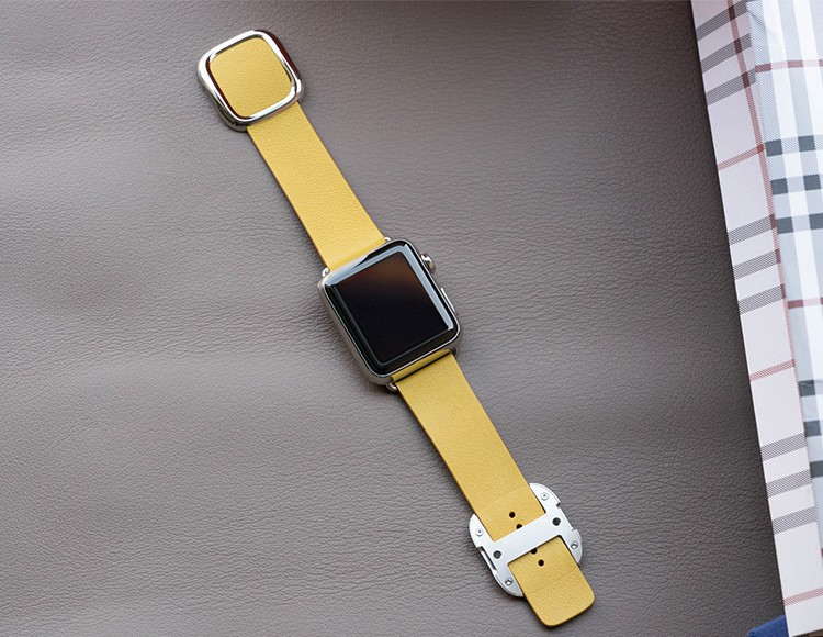 Image of   Apple Watch Læderem med Spænde-Gul-38 mm