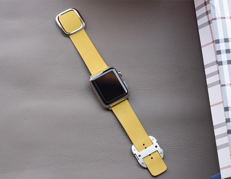Apple Watch Læderem med Spænde-Gul-38 mm