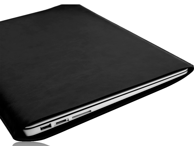 "Image of   Milano sort læder sleeve til Macbook 13"" og computer 13"""