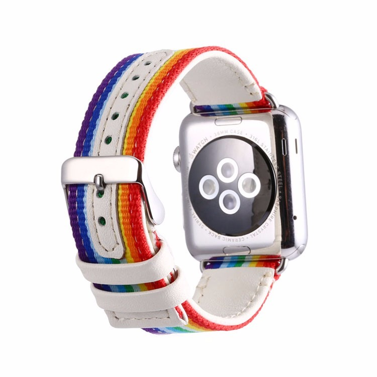 Image of   Rainbow rem i nylon til Apple Watch