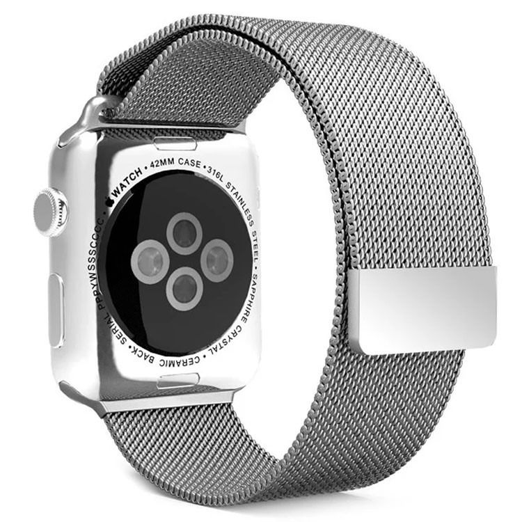 Sølv Apple Watch mesh urlænke i rustfrit stål - 42mm