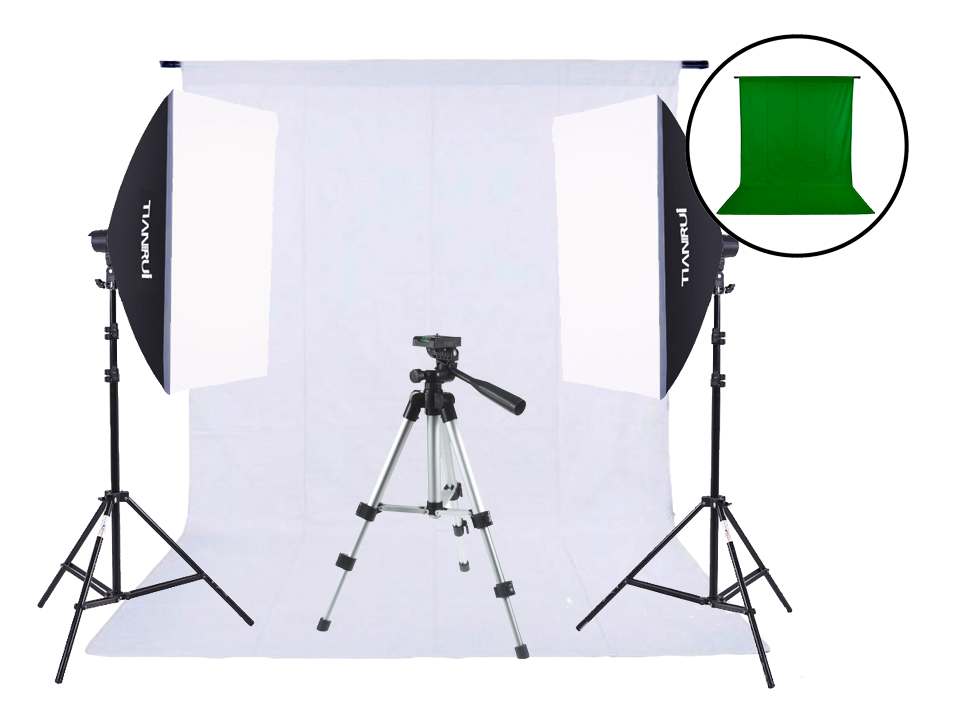 Image of   Fotostudie med grøn og hvid baggrund