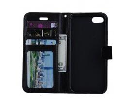 Nagi Læder Flip Cover Til iPhone 7 / 8 / SE (2020) Med Kortholder-Sort