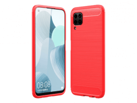 Rødt Carbon TPU Cover til Huawei P40 Lite