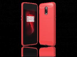 Carbon Fiber TPU Cover OnePlus 6T-Rød
