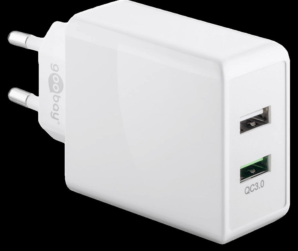 Dobbelt USB Hurtig Oplader til Stikkontakt
