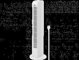 Hvid Tårnventilator m. Rotation