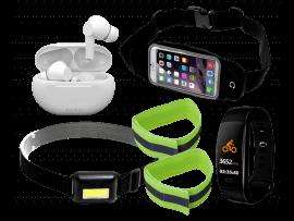 """Komplet løbepakke med pandelampe og aktivitetsur (5-7"""" smartphones)"""