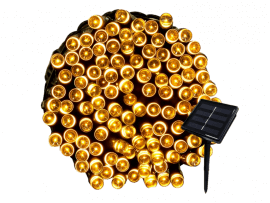 12 Meter Outdoor Solcelle Lyskæde - Varmt Lys