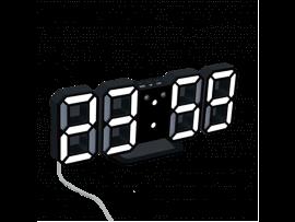 Moderne 3D Vækkeur m. LED-lys