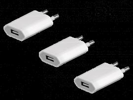 3 Stk. USB Opladere til Stikkontakt