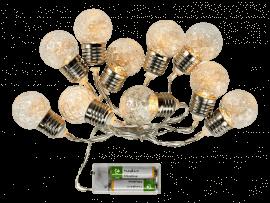 10 LED Lyskæde m. Glas Kugler