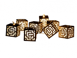 10 LED Lyskæde m. Canvas Lanterner