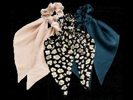 3-Pak Tørklæde Scrunchie i Satin