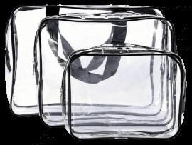 3-Pak Transparent Toilettaske