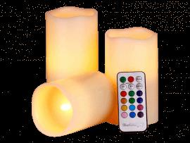 3-Pak LED Bloklys m. Fjernbetjening