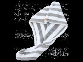 Grå & Hvid Stribet Håndklæde til Hår