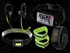 """Komplet løbepakke med pandelampe og aktivitetsur (4-5"""" smartphones)"""