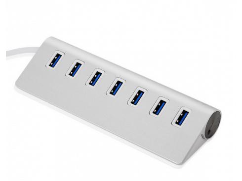 USB hub 3.0. m/7 port i aluminium