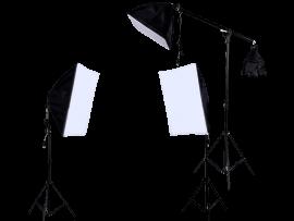 3x Softbox Belysningssæt m. Vægtstang