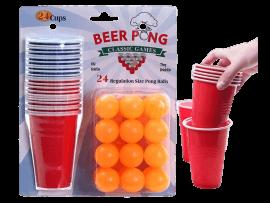 Beer Pong Sæt m. 24 Kopper & Bolde